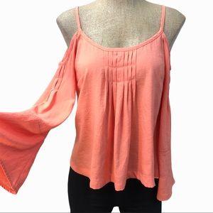 NANETTE LEPORE peach cold shoulder blouse 0